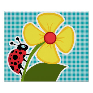 Ladybug and Flower on Blue-Green Gingham Poster