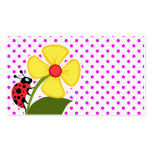 Ladybug and Flower on Fuchsia Polka Dots Business Card