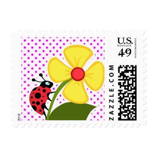 Ladybug and Flower on Fuchsia Polka Dots Postage