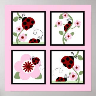 Ladybug and Flower Wall Art Poster
