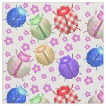 Ladybug and flowers baby kids children nursery fabric