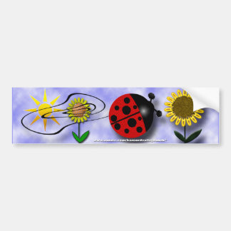 Ladybug and Flowers Bumper Stickers