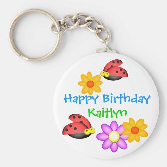 Ladybug and Flowers Keychain