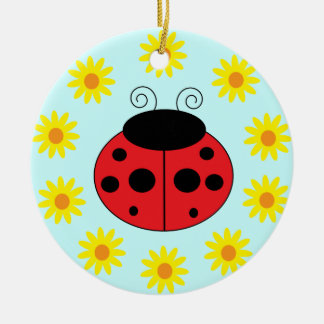 Ladybug and Flowers Ornament