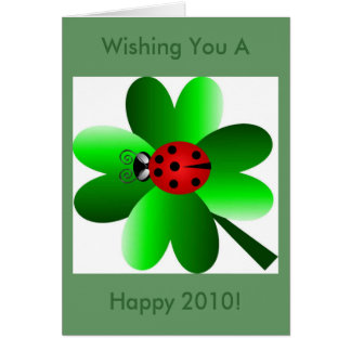 Ladybug and  four leaf clover card