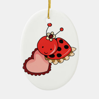 LADYBUG AND HEART CERAMIC ORNAMENT