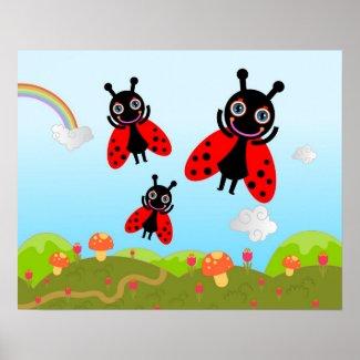 Ladybug and mushrooms poster