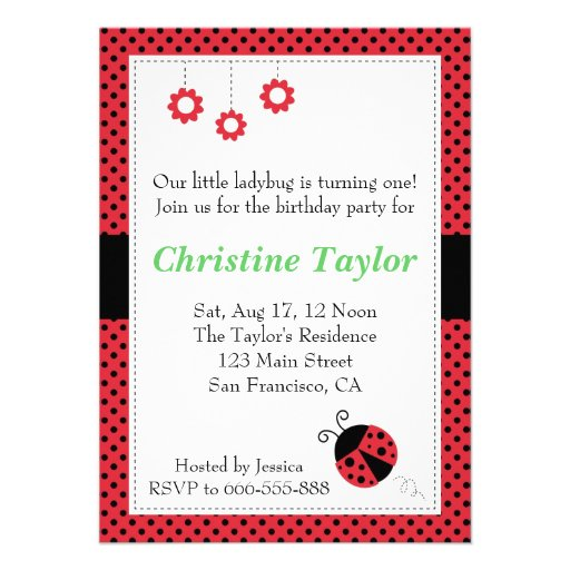 Ladybug and Polka Dots Birthday Party Personalized Invite