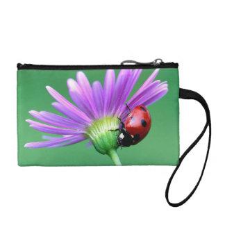 Ladybug and Purple Flower Change Purse