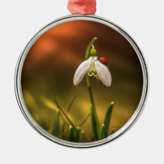 Ladybug and snowdrop metal ornament
