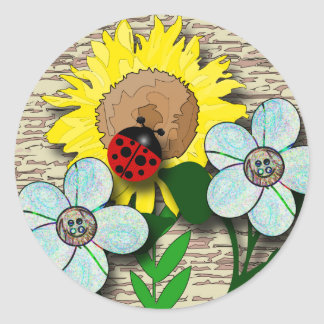 Ladybug and Sunflower Classic Round Sticker