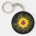 Ladybug and Sunflower Keychain