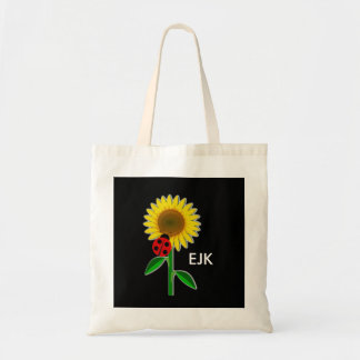 Ladybug and Sunflower Monogram Book Bag/Tote Tote Bag