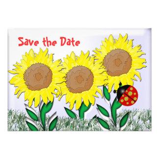 Ladybug and Sunflowers Custom Announcement