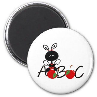 Ladybug Apples and ABC 2 Inch Round Magnet