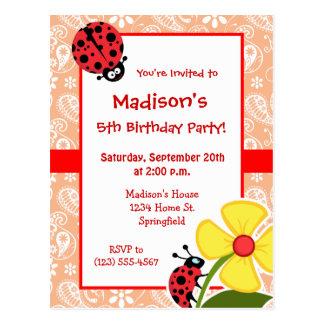 Ladybug; Apricot Color Paisley; Floral Postcard