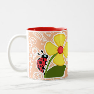 Ladybug; Apricot Color Paisley; Floral Two-Tone Coffee Mug