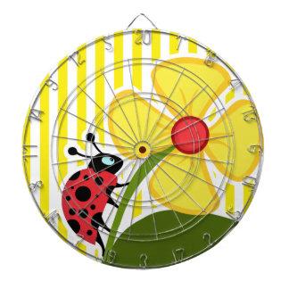 Ladybug; Aureolin Yellow Stripes; Striped Dart Board