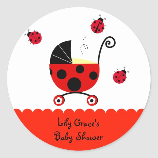 ladybug baby shower favor stickers labels zazzle