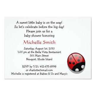 ladybug; baby shower 5x7 paper invitation card
