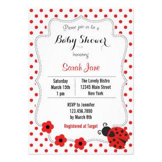 Ladybug Baby Shower Invitation Polkadot Personalized Announcements