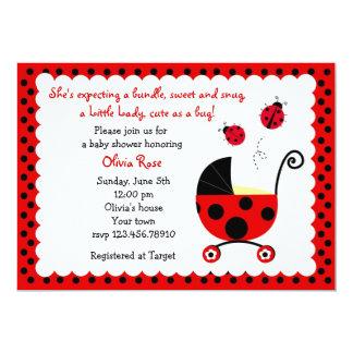"Ladybug Baby Shower Invitations 5"" X 7"" Invitation Card"