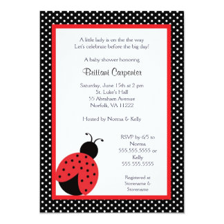 "Ladybug Baby Shower or Birthday Party invite 5"" X 7"" Invitation Card"
