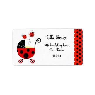 Ladybug Baby Shower Return Address Labels