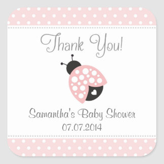 Ladybug Baby Shower Thank You Stickers (Pink)
