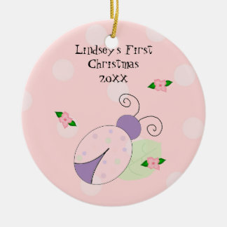 Ladybug Baby's First Christmas Double-Sided Ceramic Round Christmas Ornament