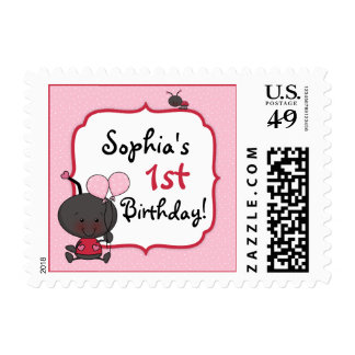 Ladybug Balloons Birthday Party Postage