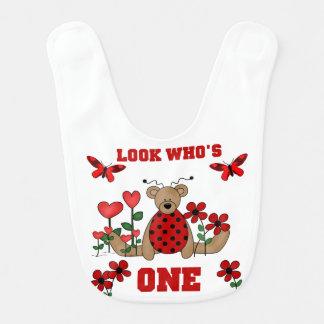 Ladybug Bear 1st Birthday Bib