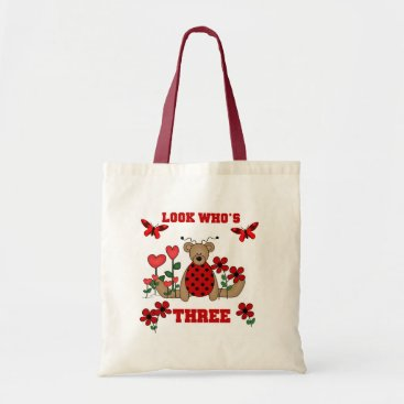 birthday Ladybug Bear 3rd Birthday Tshirts Tote Bag