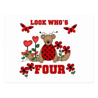 Ladybug Bear 4th Birthday Tshirts and Gifts Postcard