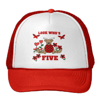 Ladybug Bear 5th Birthday Tshirts and Gifts Trucker Hat