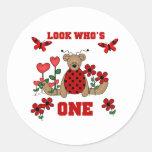 Ladybug Bear First Birthday Classic Round Sticker