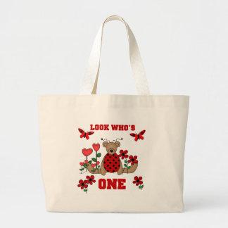 Ladybug Bear First Birthday Large Tote Bag