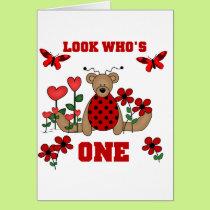 Ladybug Bear First Birthday Tshirts and Gifts Card