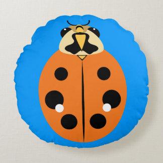 Ladybug Beetle Orange Round Pillow