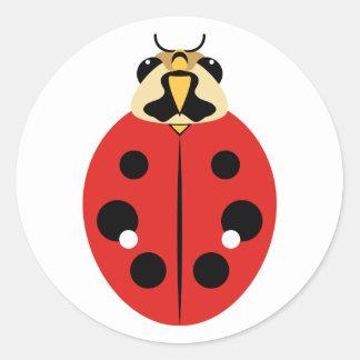 Ladybug Beetle Red Classic Round Sticker