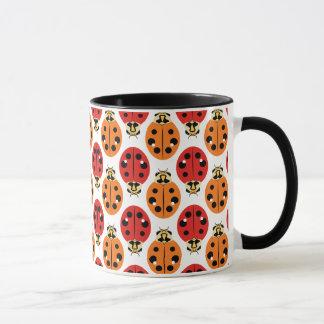 Ladybug Beetles in Orange and Red Mug