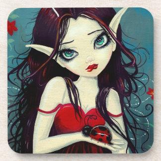 Ladybug Big-Eye Fairy Art Beverage Coaster