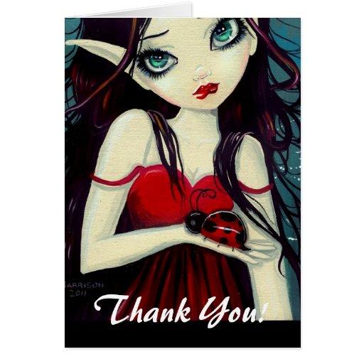 Ladybug Big-Eye Fairy Art Stationery Note Card