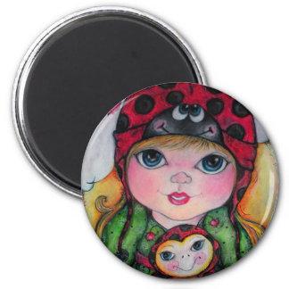 Ladybug Big Eye Girl 2 Inch Round Magnet