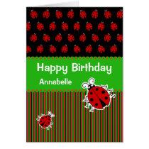 Ladybug birthday custom text modern card