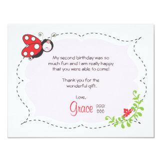 Ladybug Birthday Flat Thank You Note 4.25x5.5 Paper Invitation Card