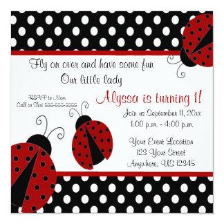 "Ladybug Birthday Invitation 5.25"" Square Invitation Card"