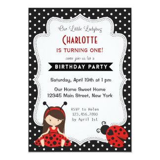 "Ladybug Birthday Invitation Black Red Polka Dots 5"" X 7"" Invitation Card"