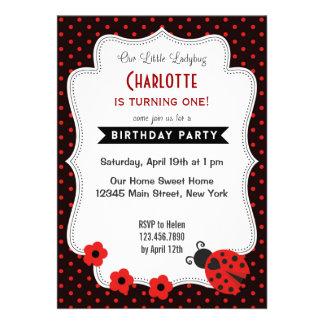 Ladybug Birthday Invitation Black Red Polkadot Custom Invite