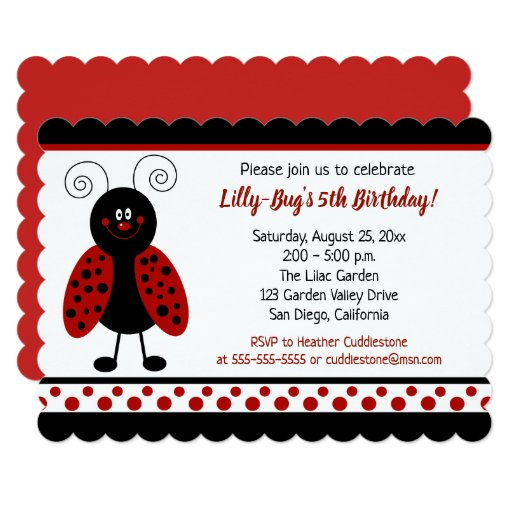 Ladybug Birthday Invitation Girl Red/Black